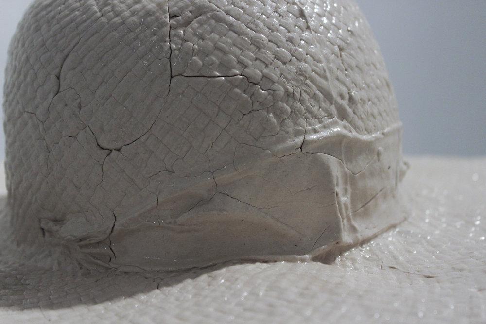 - Straw Hat (Detail)Press Molded Stoneware, 2018
