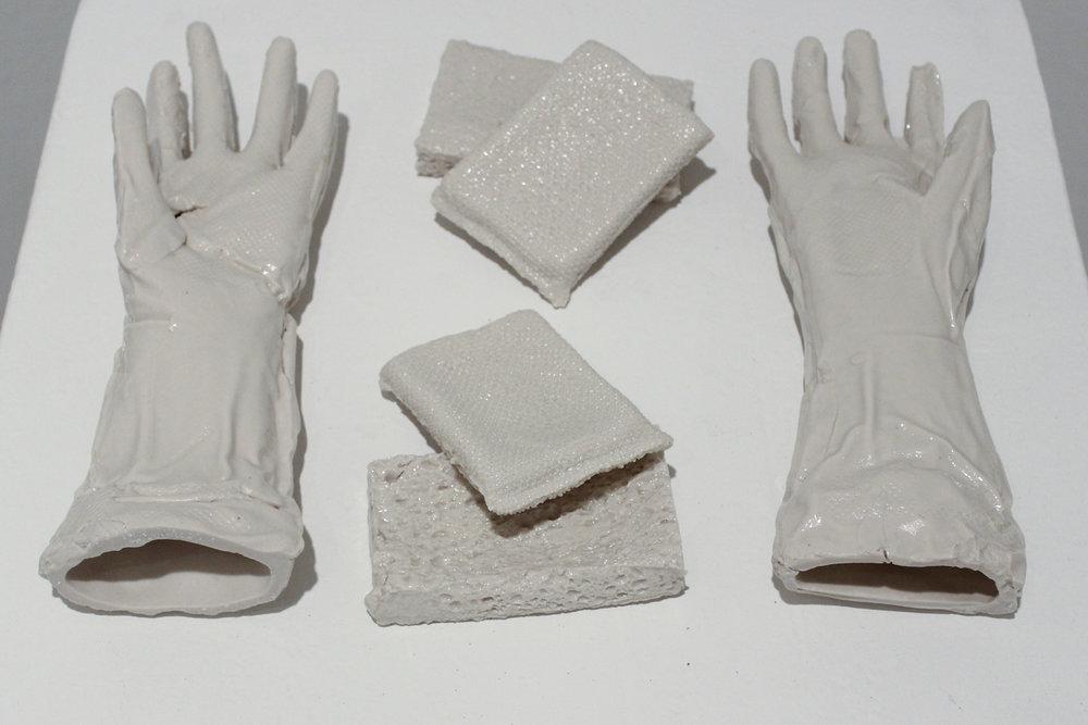 Rubber Gloves & Cleaning Sponges   Slipcast Porcelain, 2017
