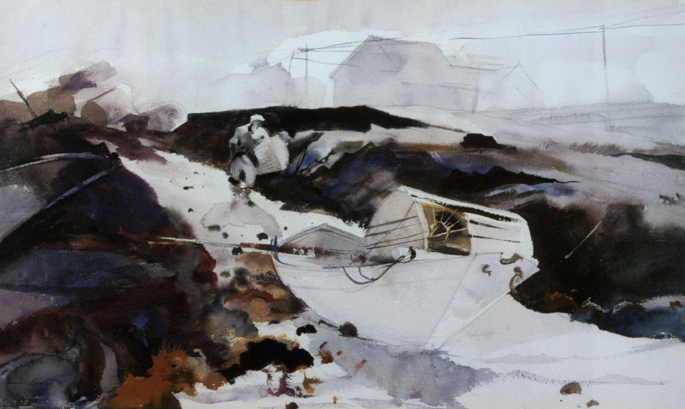 Wyeth_Andrew_Fog_And_The_White_Dory_1941_Watercolor_On_Paper-large