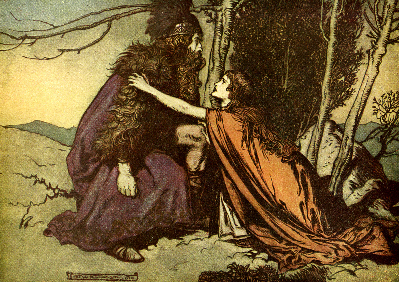 arthur rackham_the ring of the niblung_the valkyrie_06