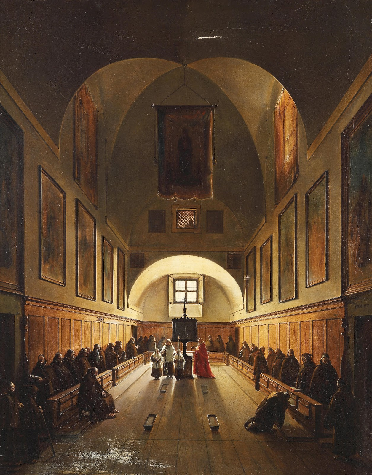 Francois-Marius Granet - Choir in the Capuchin Church in Rome 1808