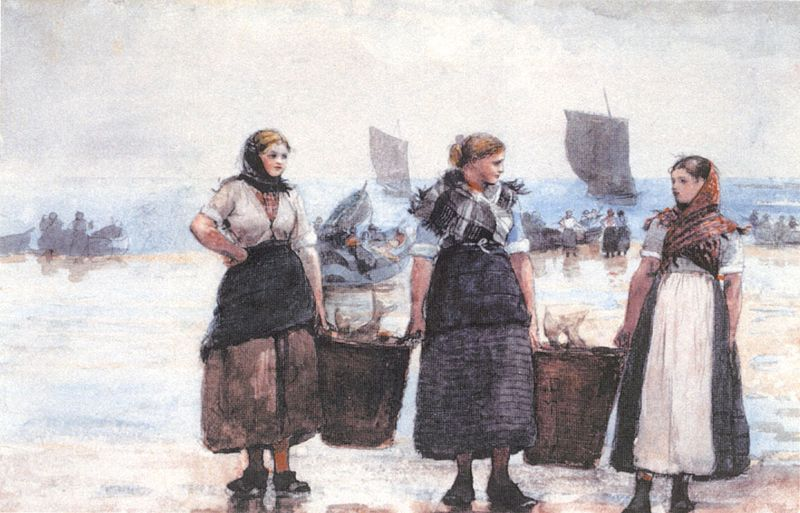 800px-Homer,_Winslow_-_'Fisherwomen,_Cullercoats',_1881,_graphite_&_watercolor_on_paper (1)