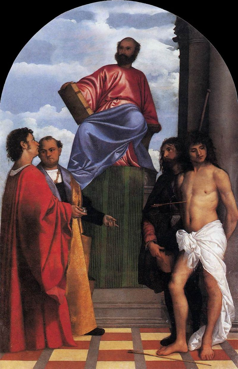 800px-Titian_-_St_Mark_Enthroned_with_Saints_-_WGA22765