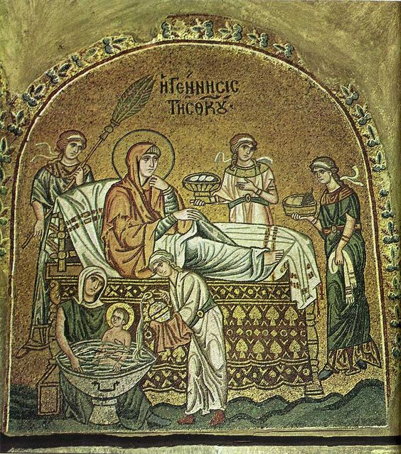 An ancient mosaic of the Nativity of the Theotokos, the Mother of God