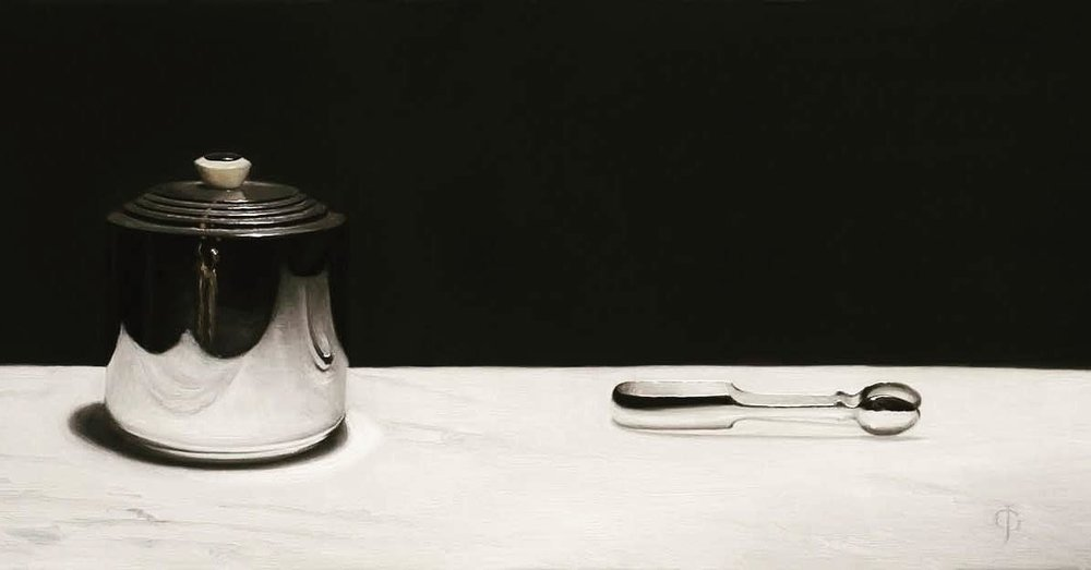 "Silver Buscuit Barrel & Tongs    294mm x 635mm (11 ¹¹/₁₆"" x 25"") Oils on linen over panel"