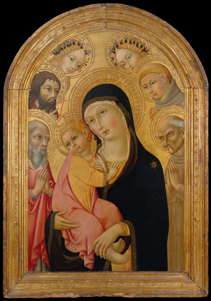 Madonna and Child with Saints Jerome, Bernardino, John the Baptist, and Anthony of Padua and Two Angels. Artist: Sano di Pietro