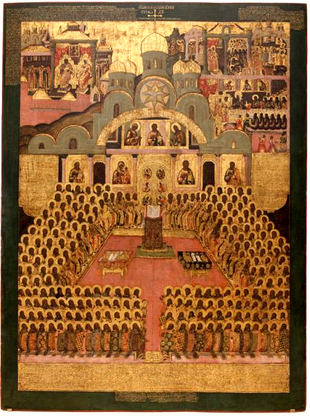 An  icon  of the Seventh Ecumenical Council (17th century,  Novodevichy Convent ,  Moscow ).