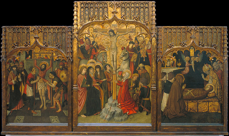 The Martyrdom of St Bartholomew, Calvary, and the Death of St Mary Magdalene by Jaume Huguet the Spanish artist of the late 15th century. This is in the gothic style. Below is a detail, showing the left-hand part of this Triptych.