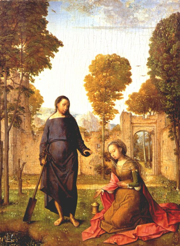 Juan de Flandes, Noli me tangere. Flemish 15thC. Mary Magdalene mistakes Christ as a Gardener (the artist even gives him a spade).