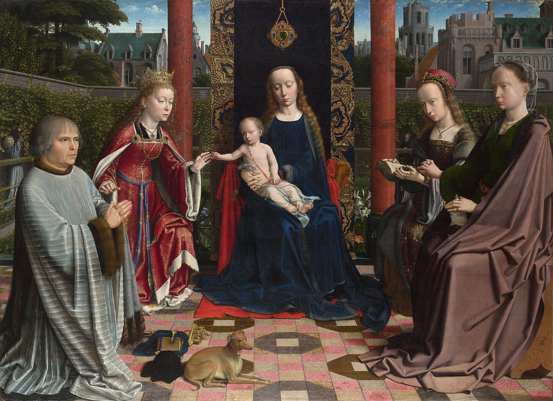 Gerard David, The Virgin and Child with Saints and Donor. Flemish 15th century. She is shown in a garden enclosed, echoing the Song of Songs
