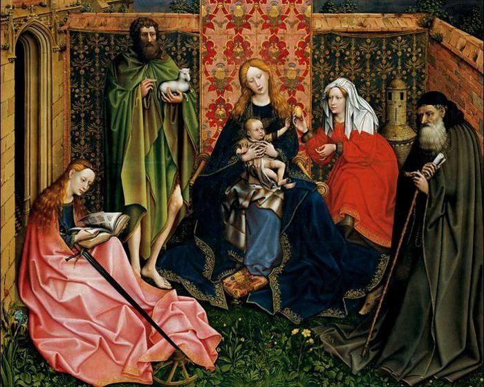 Robert Campin, Madonna-and-Child-with-Saints-in-an-Enclosed-Garden, Flemish 15th century