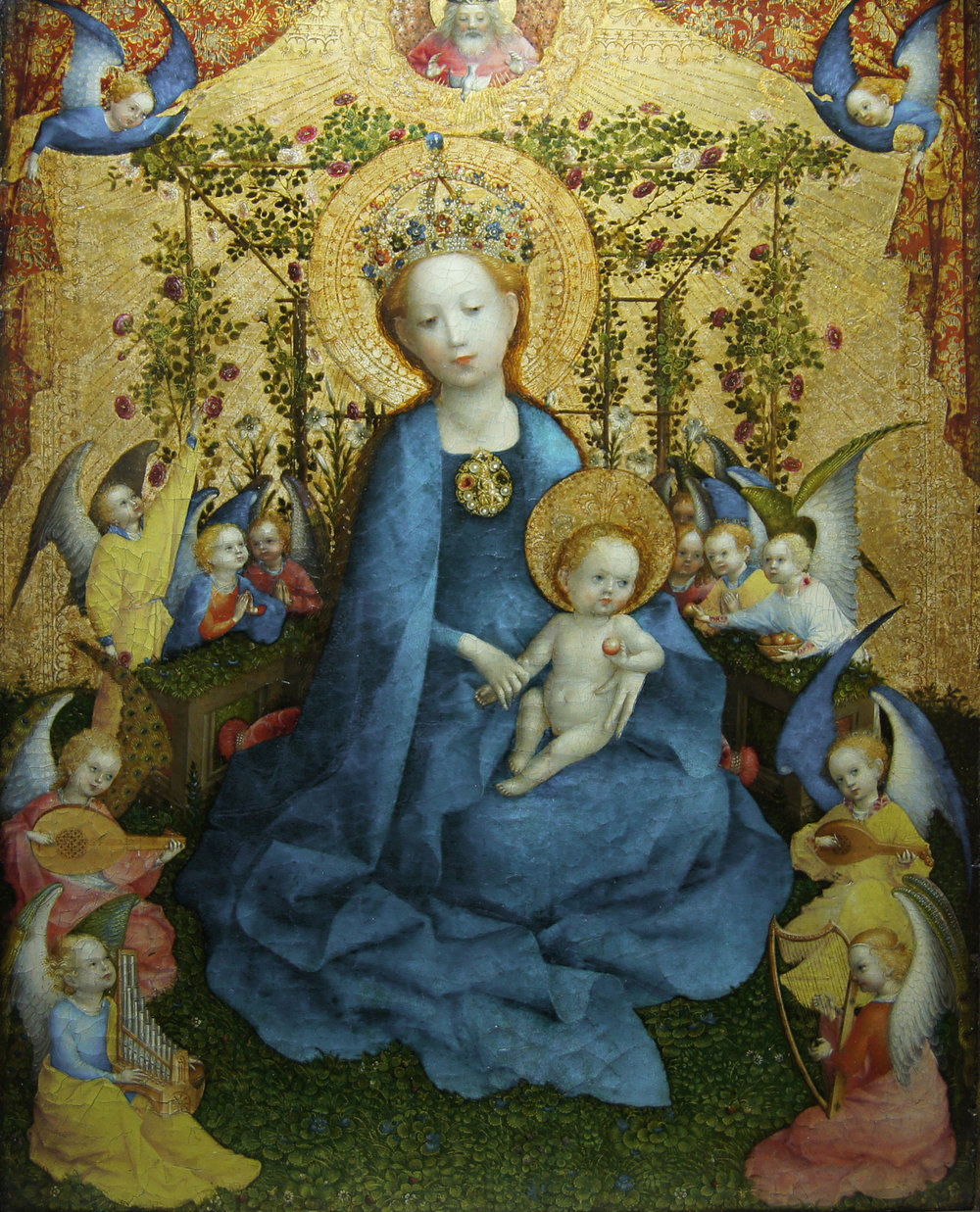 The Madonna in the Rose Bower, by Stephan Lochner, German 15th century.