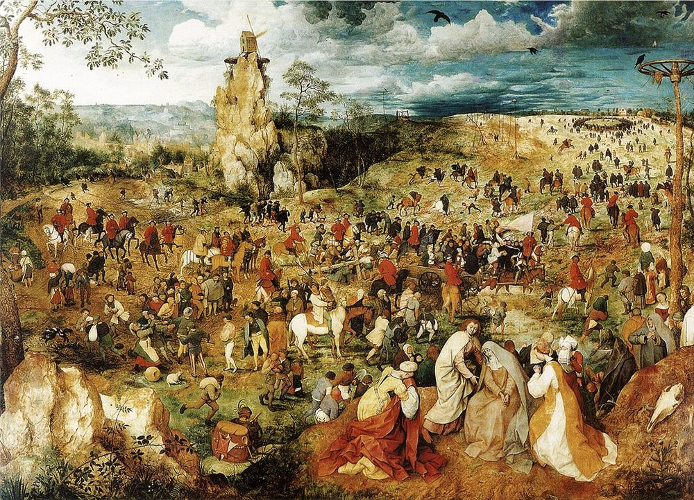 The Procession to Calvary by Pieter Breughel the Elder, Flemish, 16th century. There is no limit to the number who can take this path!