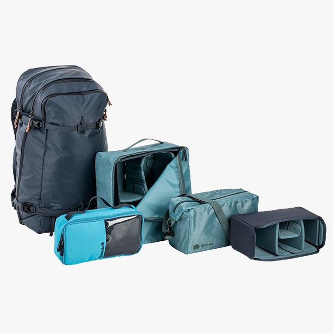 Explore Pro Kit - 1x Explore 40 oder Explore 60 Rucksack2x kleine Inlays / Core Units1x mittleres Inlay / Core Unit1x mittleres Zubehör-Case1x Regenschutz für Explore 40 oder Explore 60