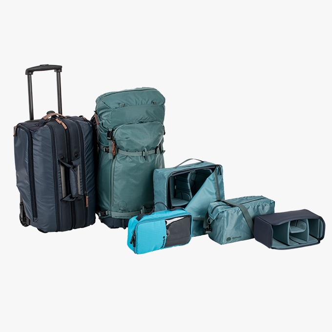 Explore Master Kit - 1x Explore 40 oder Explore 60 Rucksack1x Carry-On Roller (Trolley)2x kleine Inlays / Core Units1x mittleres Inlay / Core Unit1x mittleres Zubehör-Case
