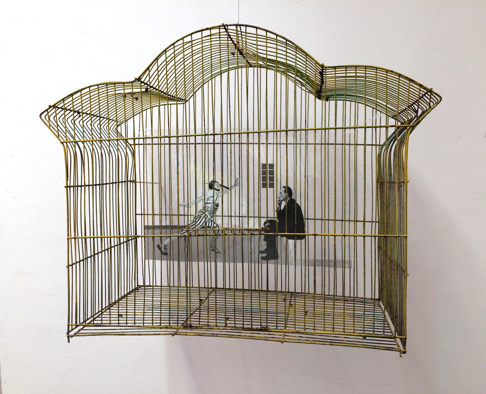ELSA & MARCEL  (2016) Images of the Baroness, (Elsa Von Freytag Loringhoven) and Marcel Duchamp on transparency in bird cage, 12 x 14 x 12""