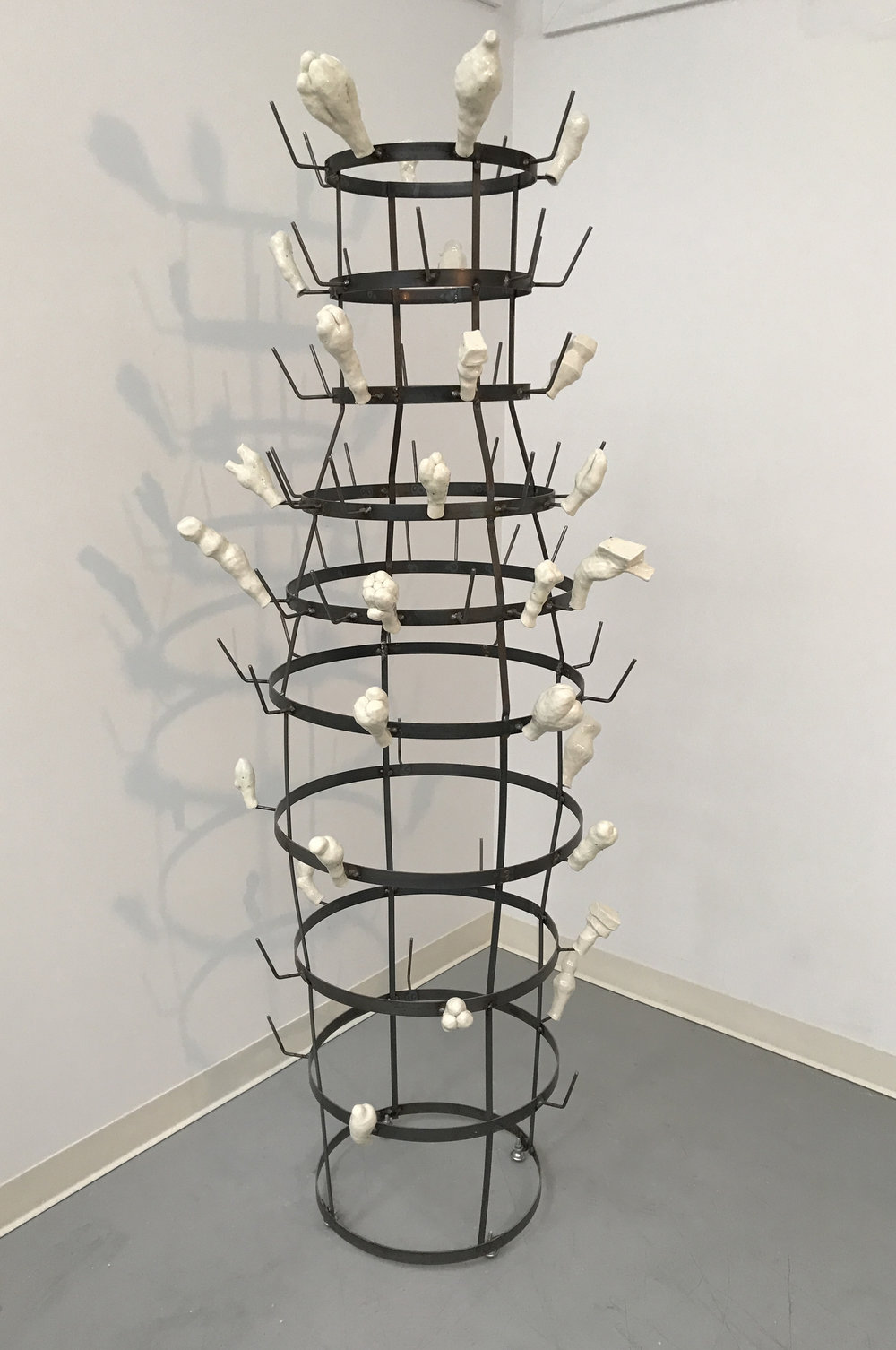 FINDING ELSA  (object) (2017) Steel and porcelain, 83 x 40 x 40""