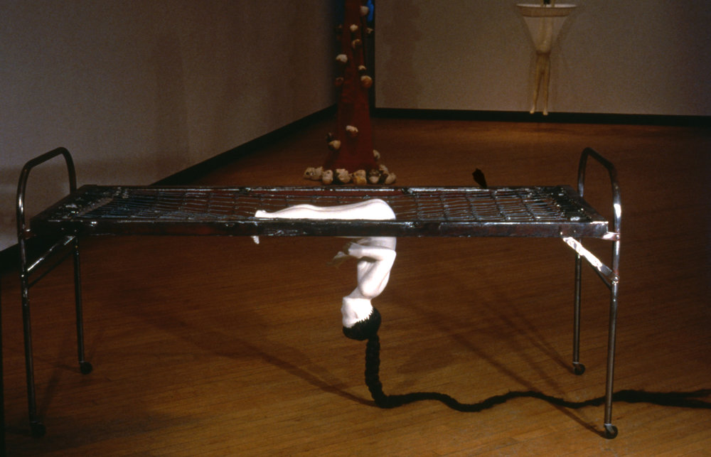 THE BED, THE GIRL, AND THE SERPENT (1993) / Fixall®, rabbit skin glue & whiting, steel, hair, 49 x 30 x 86""