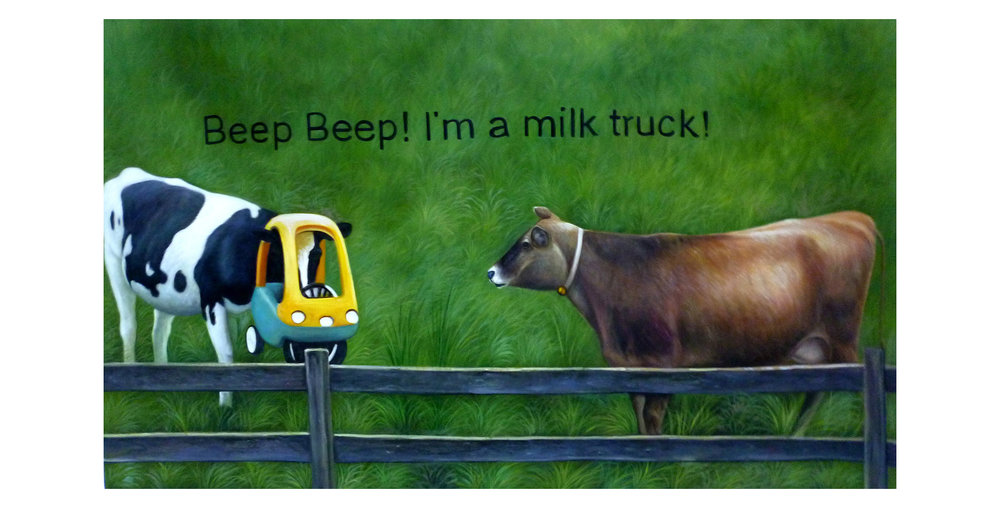 Beep Beep! I'm a Milk Truck  2016  Oil on Canvas  36 x 60 in.