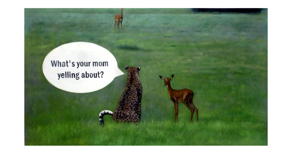 What's your Mom Yelling About?  2016  Oil on Canvas  34 x 60 in.
