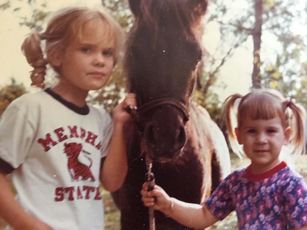 I have to share this pic.  My sisters (Tracy and Missy) did have a pony for a time, before I was around.  I am. not. bitter.  (I am going to have to stop and pray through this one again.) But this is one of my favorite of all photos of our childhood.  Just precious.