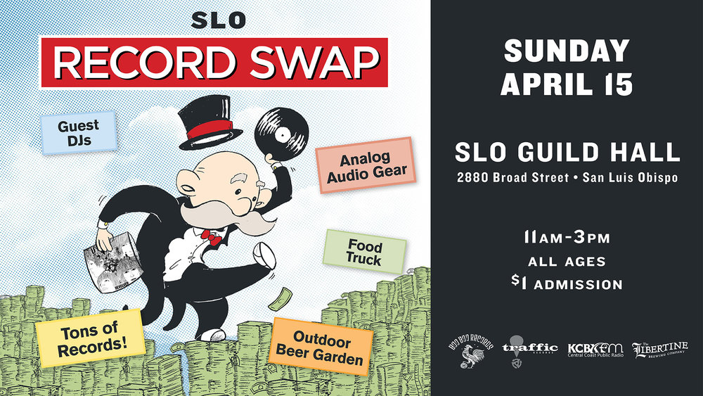 SLO Record swap Sunday 4/15/2018 SLO Guild Hall (Formerly Grange Hall) 2880 Broad St. San Luis Obispo Ca.