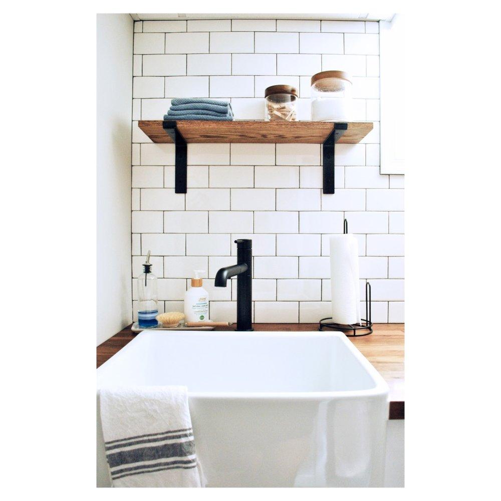 Farmhouse sink in laundry room | Sharp + Grey Interiors