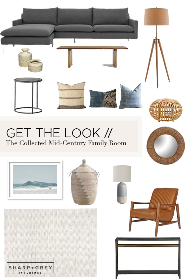 GET THE LOOK // Collected Mid-Century Family Room // Sharp + Grey Interiors