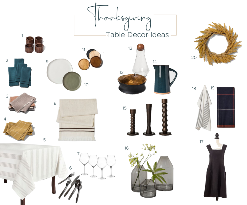 An easy round up of easy, neutral Thanksgiving table decor ideas