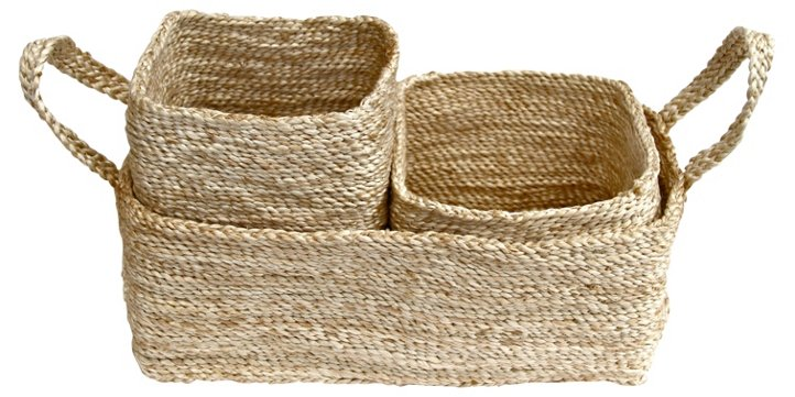 Trio of Seagrass Baskets