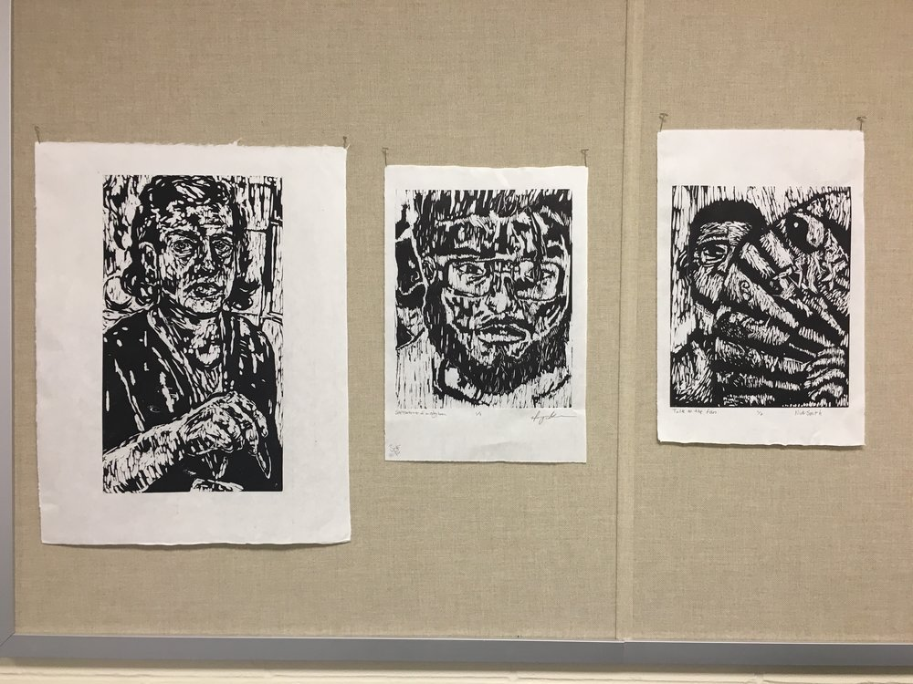 Mine, Nick, & Manny's woodcuts
