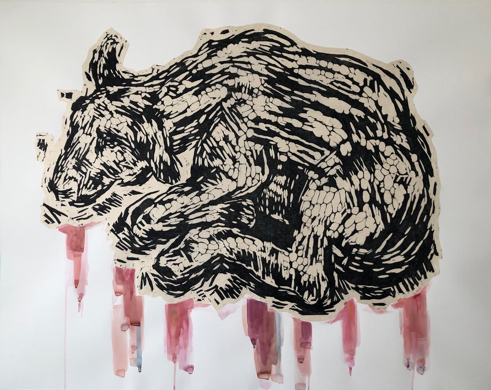 Behold the Lamb / linocut, watercolor, and India ink