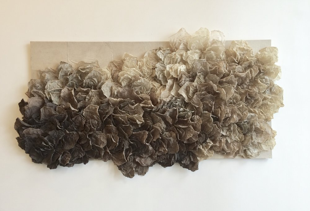 "handmade paper, carpet tacks  44""x78""x7""  2015"