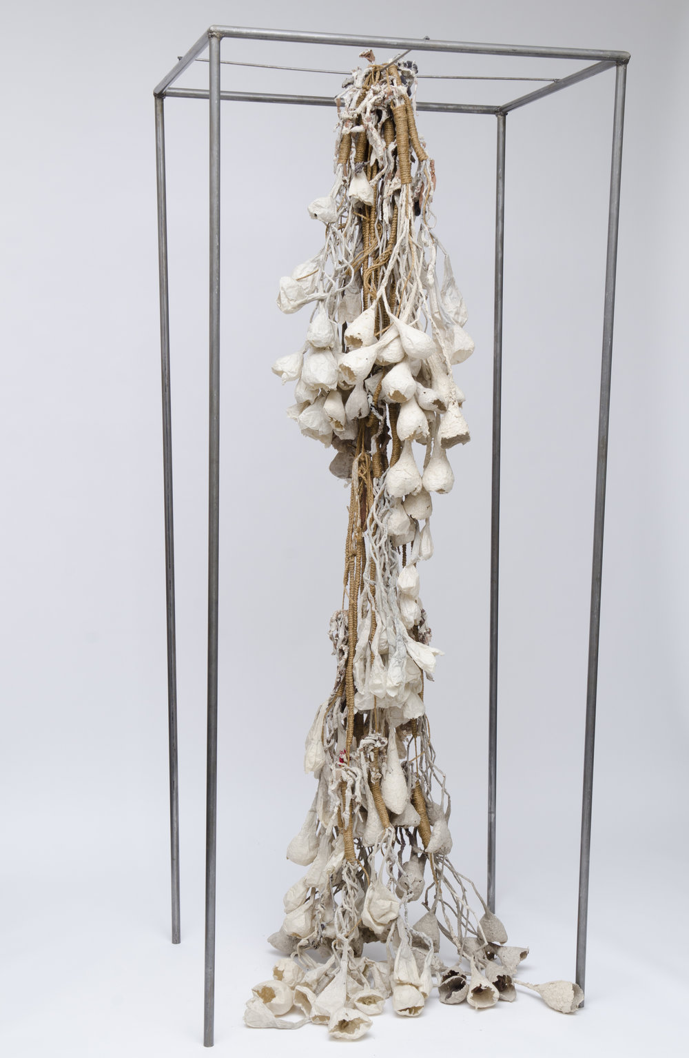 "handmade paper, rope, nylon stockings, steel  96""x40""x31""  April 2012"