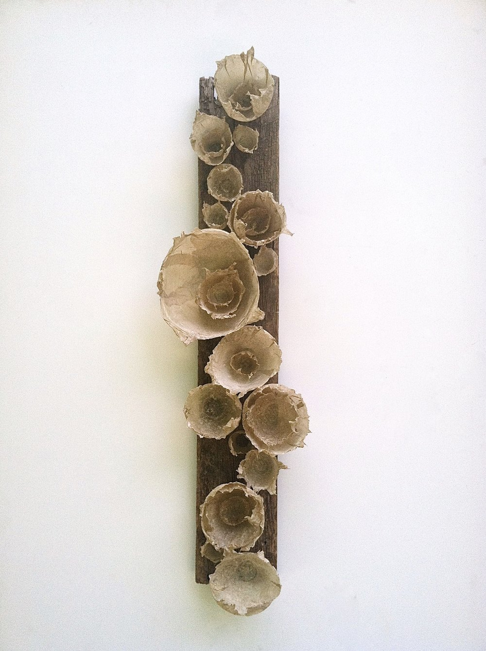 "handmade paper, found wood 48"" x 15"" x 8"" July 2014"