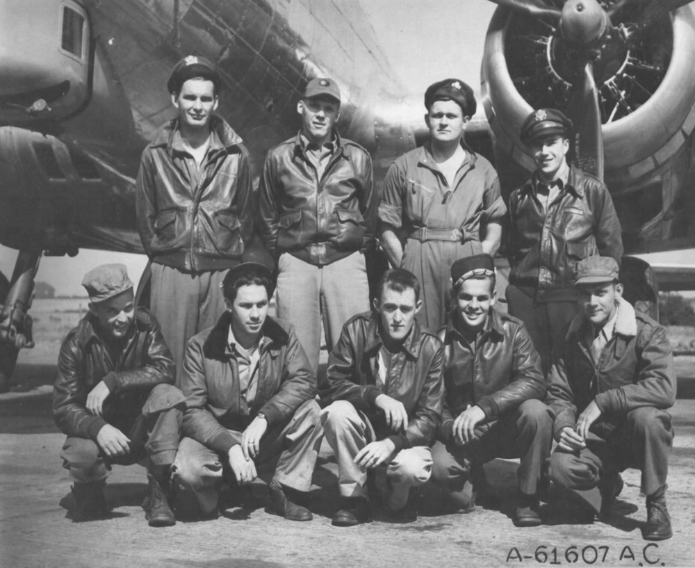 JACK R. HILLARY CREW - 359th BS  (crew assigned 359BS: 16 July 1944) (Back L-R) 2Lt Jack R. Hillary (P-KIA); 2Lt William Robertson III (CP-KIA); 2Lt John E. Rice (N-KIA); 2Lt Rocco De Filippis (B-KIA)  (Front L-R)  Sgt Neldon Reid Bishop(BT-POW)(1 ); S/Sgt George E. Paul (E-KIA);  Sgt Harry R. Sansum (WG-KIA)(2);   S/Sgt Eugene E. Girman (R-POW)(1);  Sgt James R. Watson (TG-POW)  Photo courtesy of  www.303rdBG.com .
