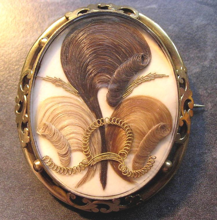 Mourning Broach made from hair