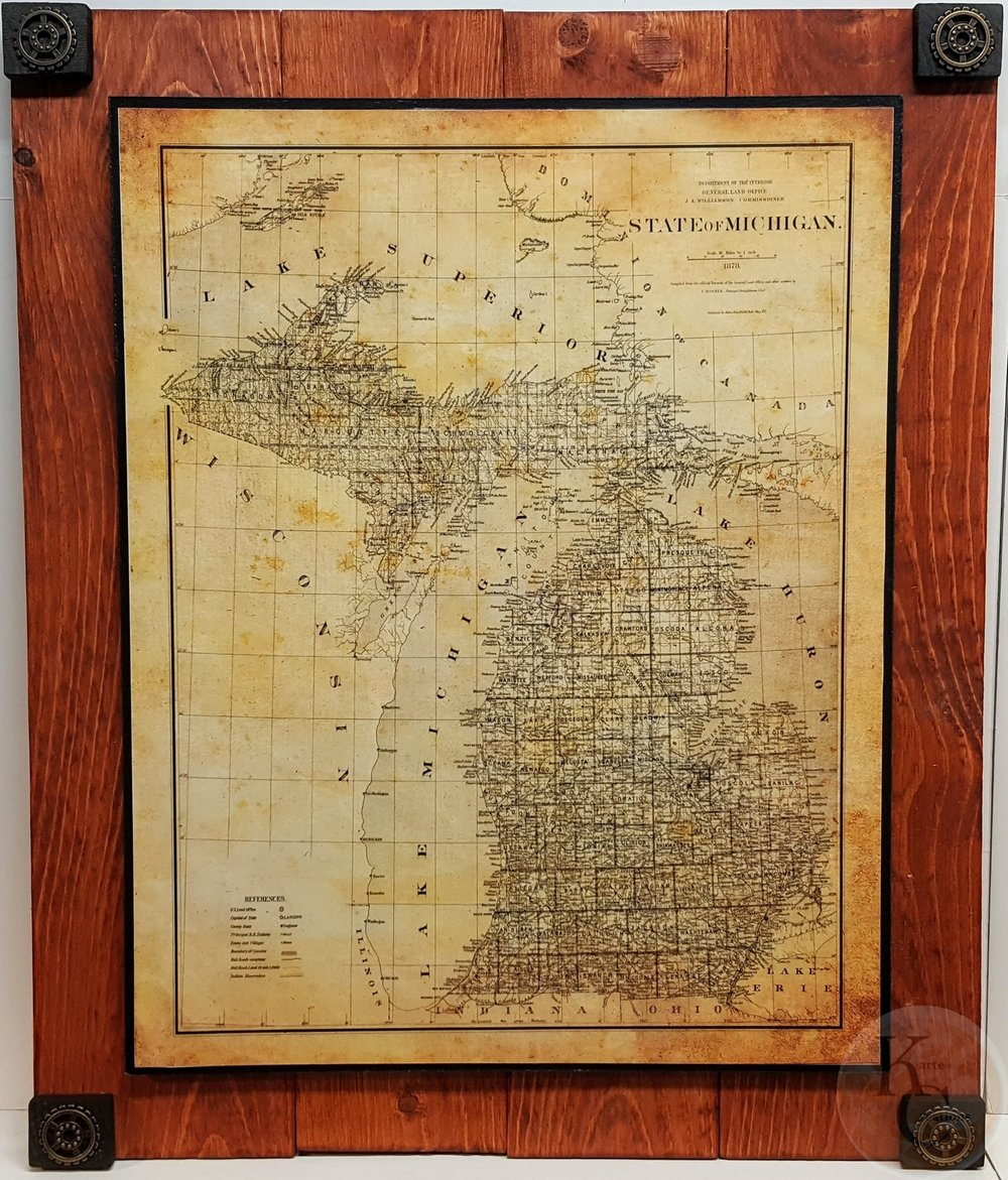 Gold In Michigan Map.Michigan Gold Historic Map Kartecreations Gallery