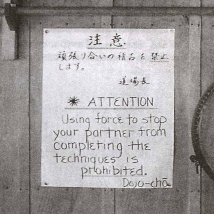 頑張り合いの稽古を禁止します Ganbariai no keiko o kinshi shimasu (Сопротивление техникам запрещено)