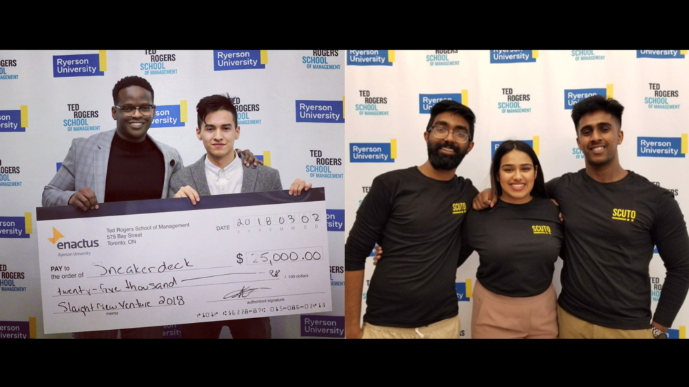 Winners of the 2018 New venture competition: Sneakerdeck (left) & Scuto Events (right)