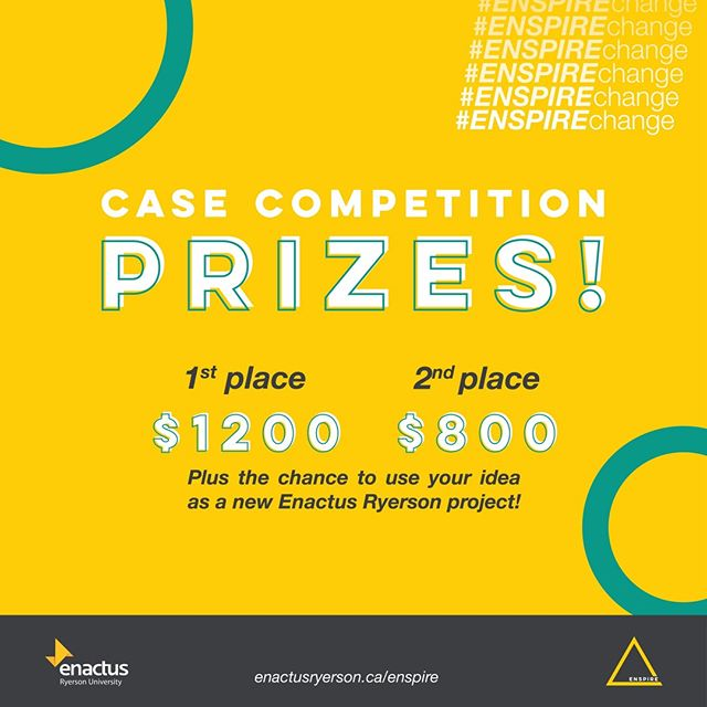 Our case competition prize reveal is finally here! 1st place team wins $1200 and 2nd place team wins $800 😱 In addition, we are giving the winner a chance to bring their idea to Enactus Ryerson as a new project! ⁣ ⁣ This is a great way to get your foot in the door and start making a real impact. We can't wait to see what you all bring to the table!⁣ ⁣ Applications are still open! Apply before 11:59pm on Friday if you want to be ENSPIRED 😉 The link to apply is in our bio!⁣ ⁣ #ENSPIREchange