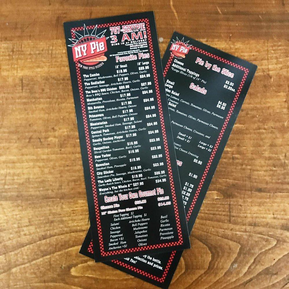 santa rosa printing menus