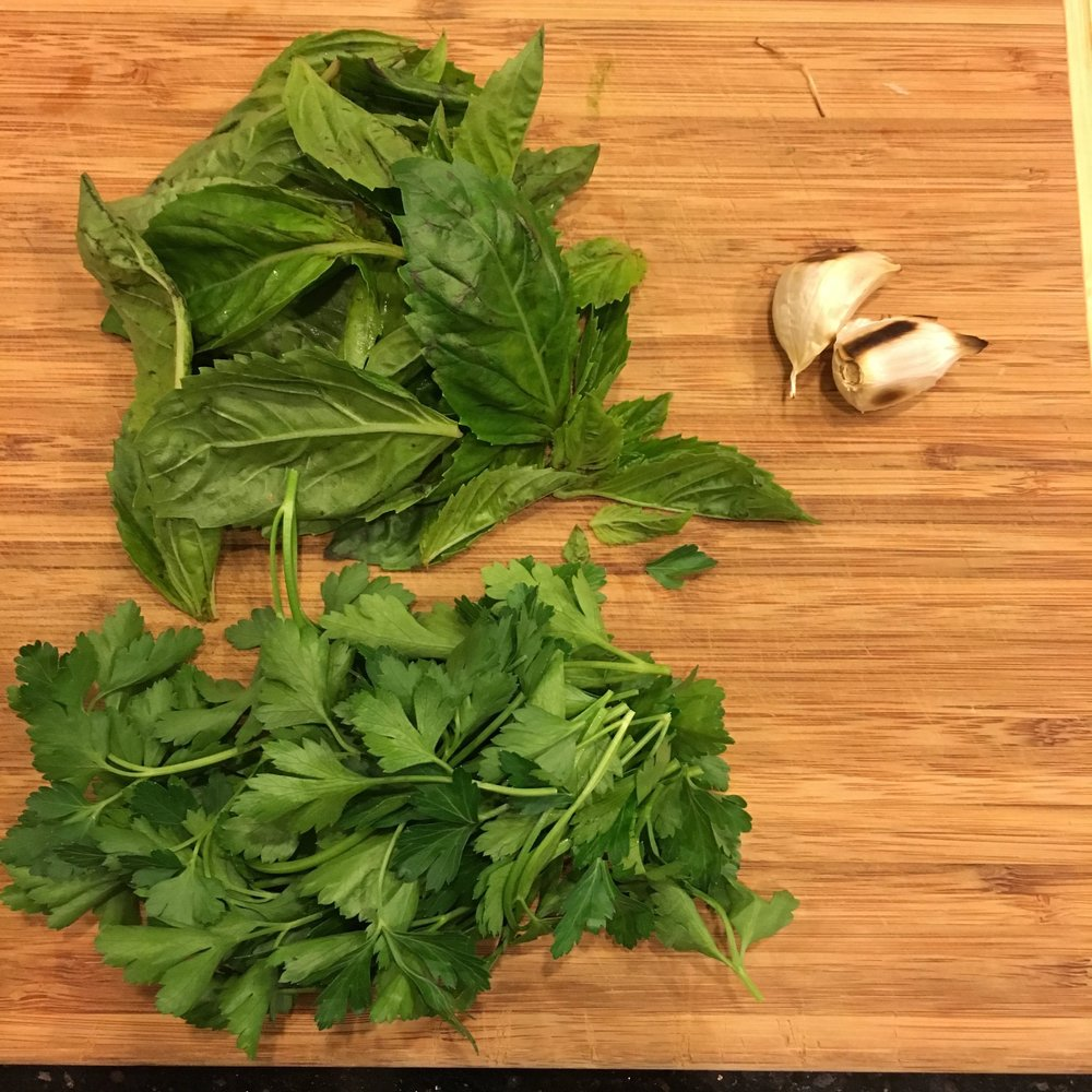Basil, parsley, roasted garlic