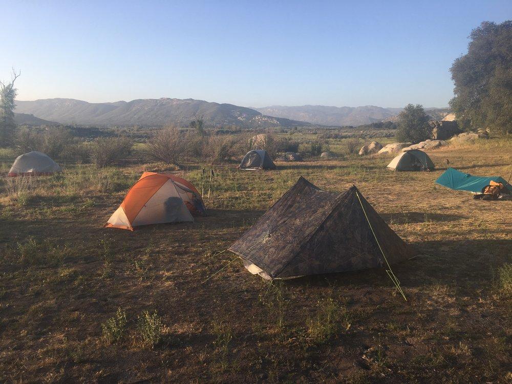 First night camping at Lake Morena.