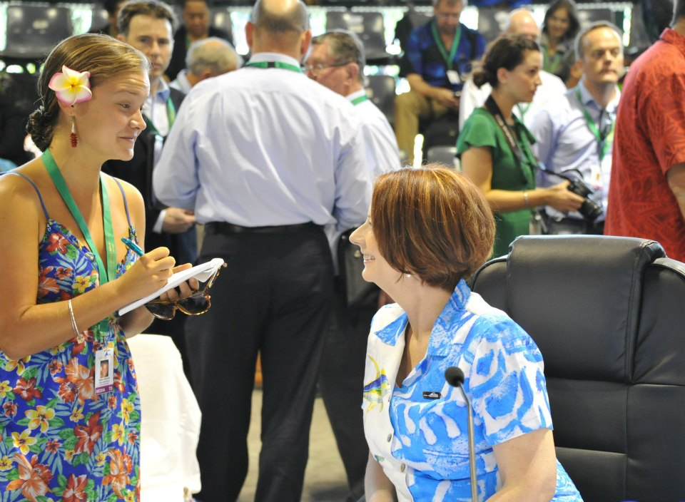 Interviewing Julia Gillard, then-PM of Australia. Photo by Matariki Wilson