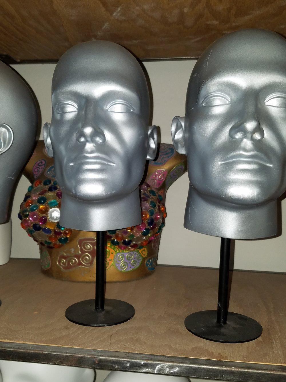 """Male """"B"""" Heads in Silver"""