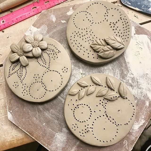 I've been searching lately for something to bring together ceramics and fibers and I think I've found it... fingers crossed it works out, we'll see once they're out of the kiln! . . . . #ceramics #clay #art #greenware #workinprogress #wip #gradschool #artschool #ceramicartist