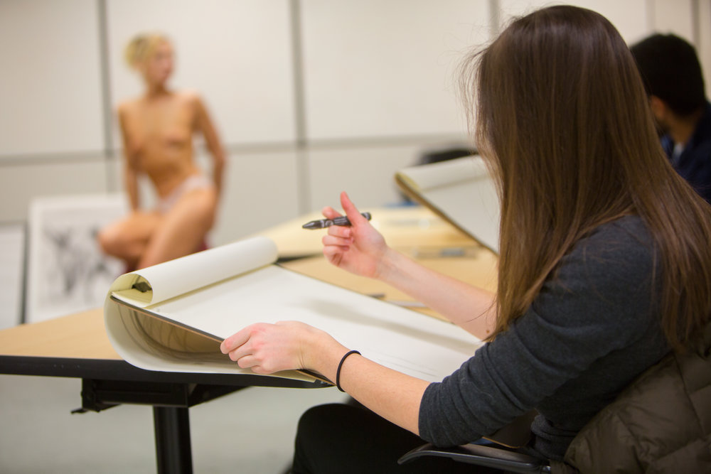 Ginny O'Brien Teaches UB Medical School Students Class in Humanities in Medicine Art Class in Farber Hall