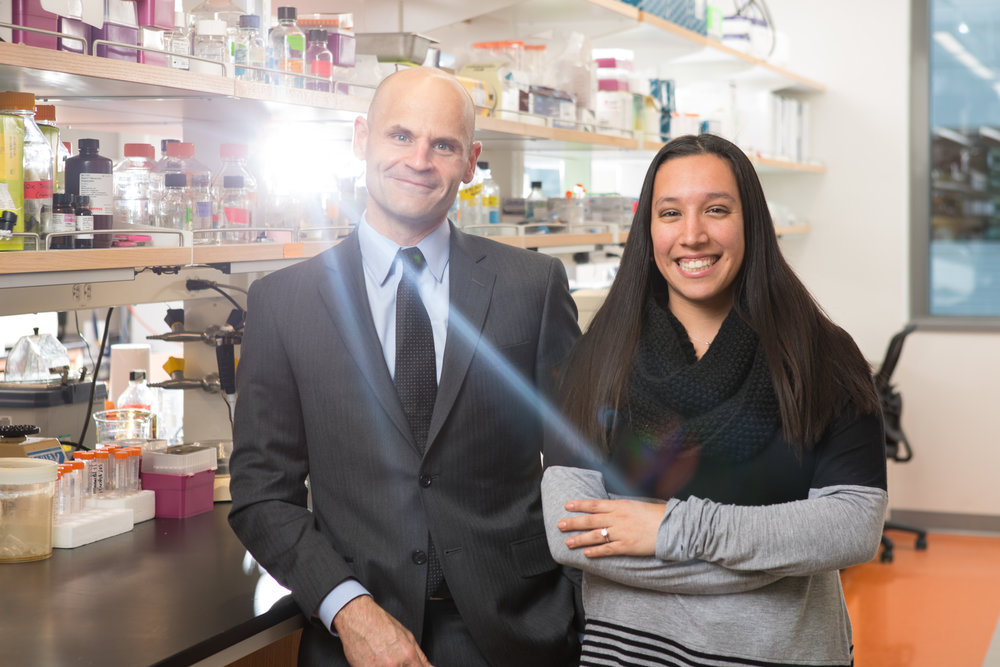 Pharmacology and Toxicology Chair David Dietz and PhD student Jennifer Martin at the Medical School Building