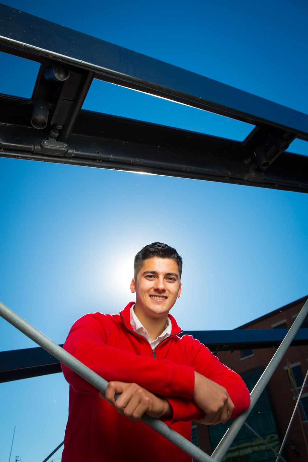 Portrait of Engineering Student James McKeehan at Canalside Historic Bridge